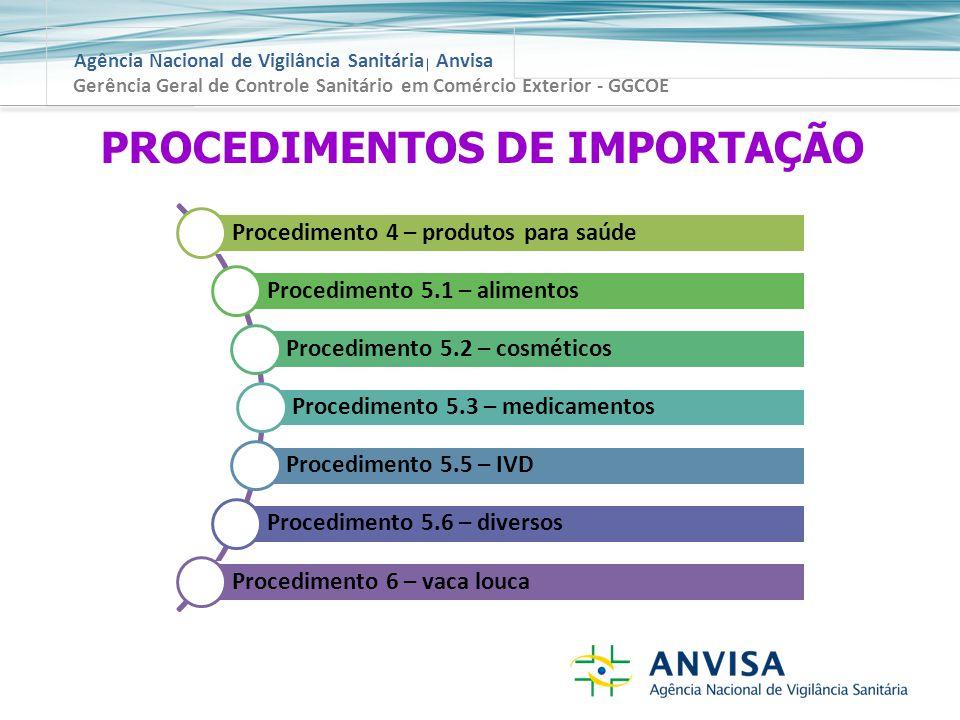 Agência Nacional de Vigilância Sanitária Anvisa Gerência Geral de Controle Sanitário em Comércio Exterior - GGCOE PROCEDIMENTOS DE IMPORTAÇÃO Procedimento 4 – produtos para saúde Procedimento 5.1 – alimentos Procedimento 5.2 – cosméticos Procedimento 5.3 – medicamentos Procedimento 5.5 – IVD Procedimento 5.6 – diversos Procedimento 6 – vaca louca