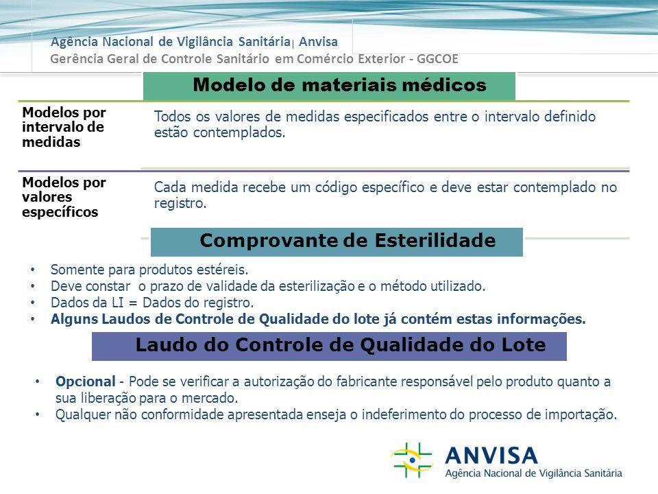 Agência Nacional de Vigilância Sanitária Anvisa Gerência Geral de Controle Sanitário em Comércio Exterior - GGCOE Modelo de materiais médicos Modelos por intervalo de medidas Todos os valores de medidas especificados entre o intervalo definido estão contemplados.