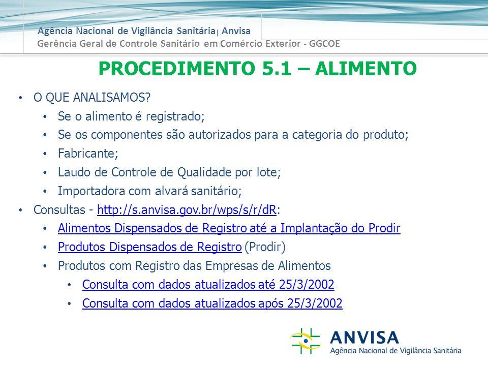 Agência Nacional de Vigilância Sanitária Anvisa Gerência Geral de Controle Sanitário em Comércio Exterior - GGCOE PROCEDIMENTO 5.1 – ALIMENTO O QUE ANALISAMOS.