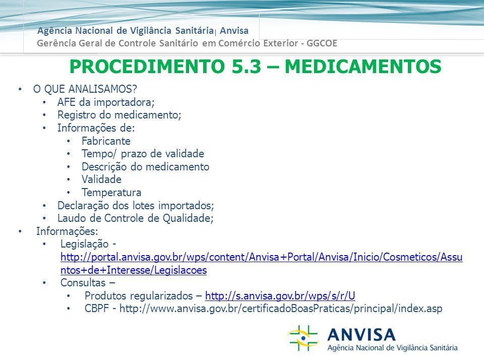 Agência Nacional de Vigilância Sanitária Anvisa Gerência Geral de Controle Sanitário em Comércio Exterior - GGCOE PROCEDIMENTO 5.3 – MEDICAMENTOS O QUE ANALISAMOS.