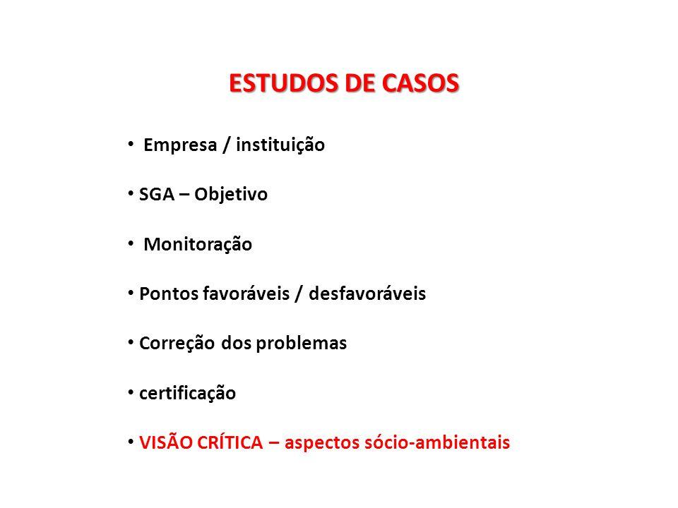 ESTUDOS DE CASOS Empresa / instituição SGA – Objetivo Monitoração Pontos favoráveis / desfavoráveis Correção dos problemas certificação VISÃO CRÍTICA