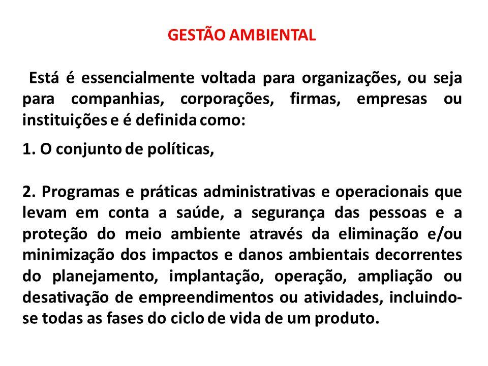 GESTÃO AMBIENTAL Está é essencialmente voltada para organizações, ou seja para companhias, corporações, firmas, empresas ou instituições e é definida