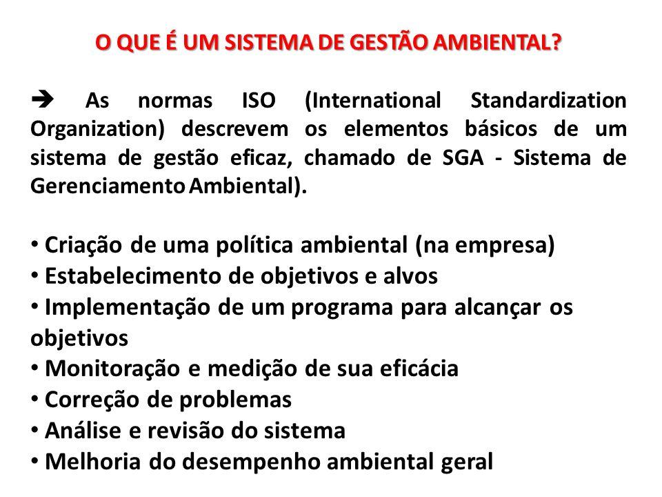 O QUE É UM SISTEMA DE GESTÃO AMBIENTAL?  As normas ISO (International Standardization Organization) descrevem os elementos básicos de um sistema de g