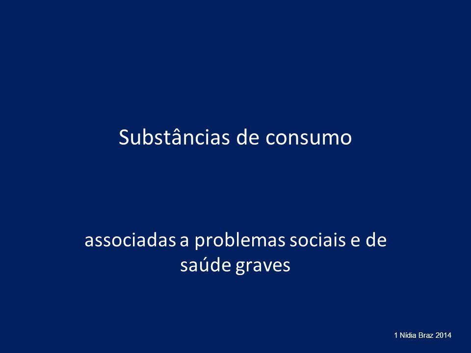 Substâncias de consumo associadas a problemas sociais e de saúde graves 1 Nídia Braz 2014