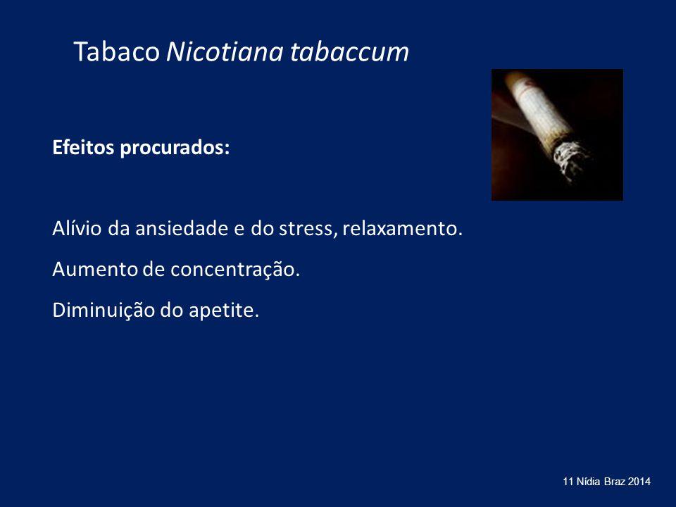 Efeitos procurados: Alívio da ansiedade e do stress, relaxamento. Aumento de concentração. Diminuição do apetite. 11 Nídia Braz 2014 Tabaco Nicotiana