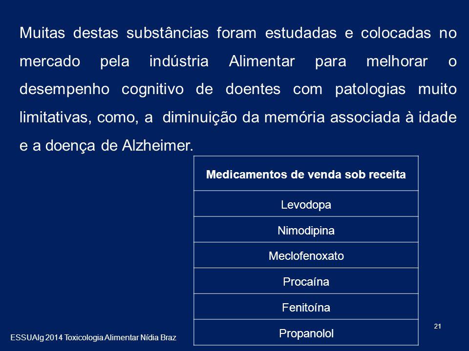 21 Muitas destas substâncias foram estudadas e colocadas no mercado pela indústria Alimentar para melhorar o desempenho cognitivo de doentes com patologias muito limitativas, como, a diminuição da memória associada à idade e a doença de Alzheimer.