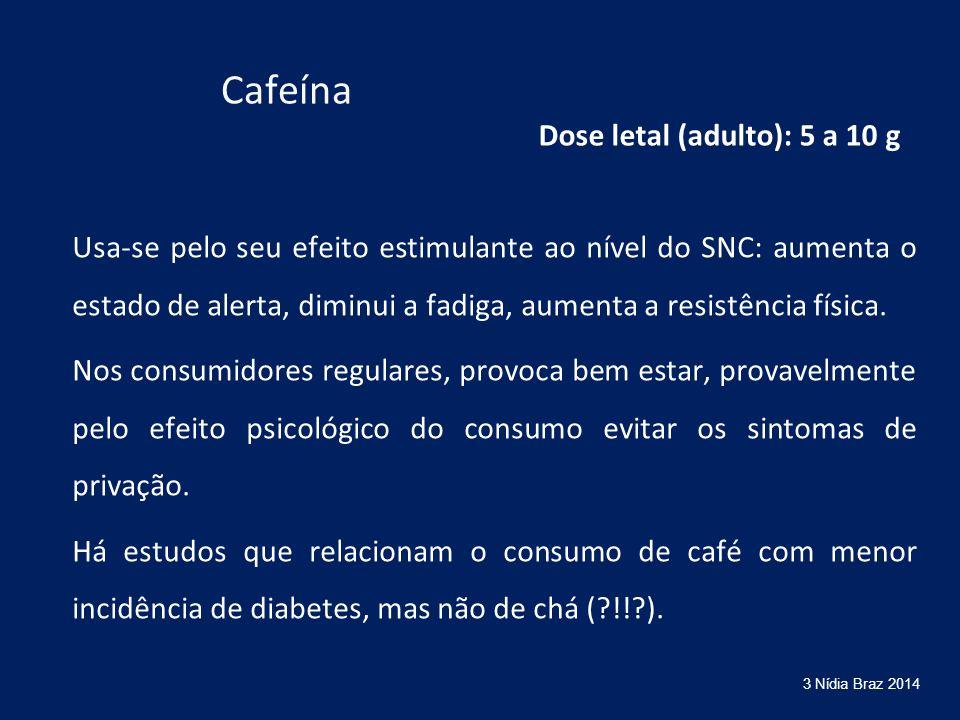 Cafeína Usa-se pelo seu efeito estimulante ao nível do SNC: aumenta o estado de alerta, diminui a fadiga, aumenta a resistência física. Nos consumidor