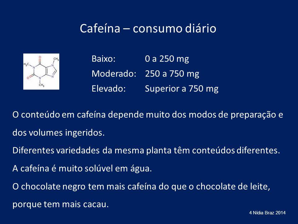Cafeína – consumo diário Baixo:0 a 250 mg Moderado:250 a 750 mg Elevado:Superior a 750 mg O conteúdo em cafeína depende muito dos modos de preparação