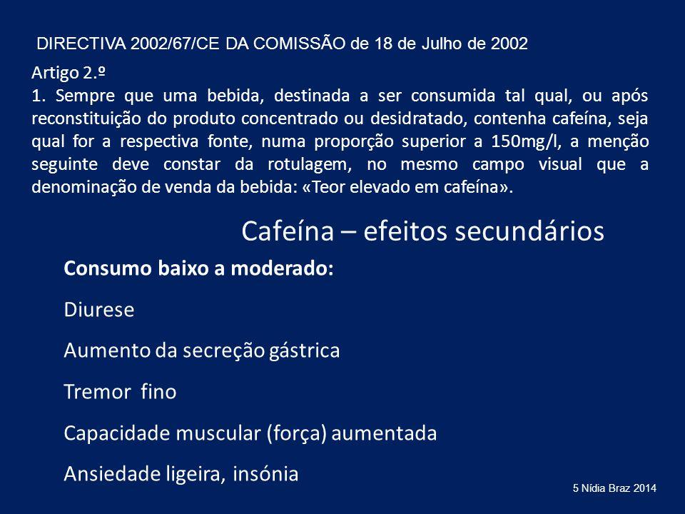 Cafeína – efeitos secundários Consumo baixo a moderado: Diurese Aumento da secreção gástrica Tremor fino Capacidade muscular (força) aumentada Ansieda