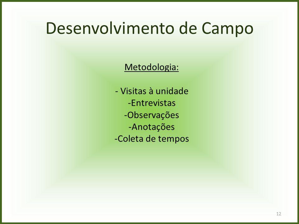 12 Desenvolvimento de Campo Metodologia: - Visitas à unidade -Entrevistas -Observações -Anotações -Coleta de tempos