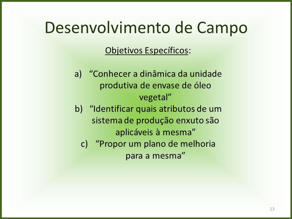 """13 Desenvolvimento de Campo Objetivos Específicos: a)""""Conhecer a dinâmica da unidade produtiva de envase de óleo vegetal"""" b)""""Identificar quais atribut"""