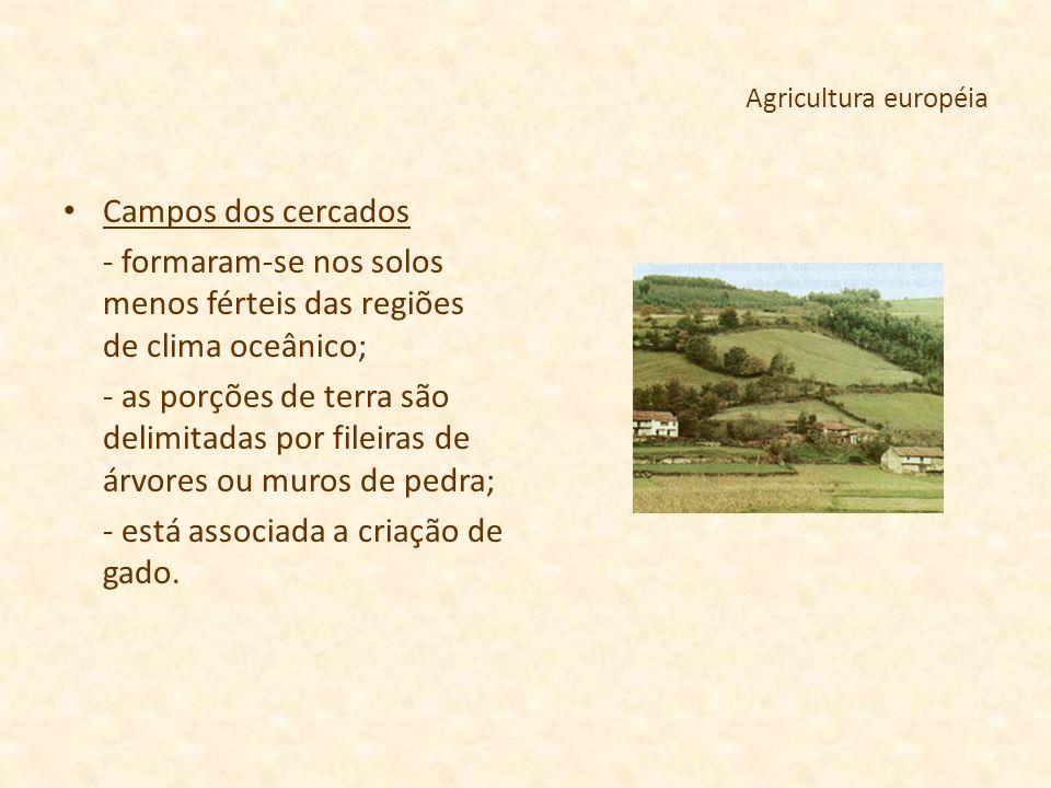 Agricultura européia Campos dos cercados - formaram-se nos solos menos férteis das regiões de clima oceânico; - as porções de terra são delimitadas po