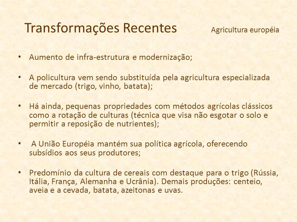 Transformações Recentes Agricultura européia Aumento de infra-estrutura e modernização; A policultura vem sendo substituída pela agricultura especiali