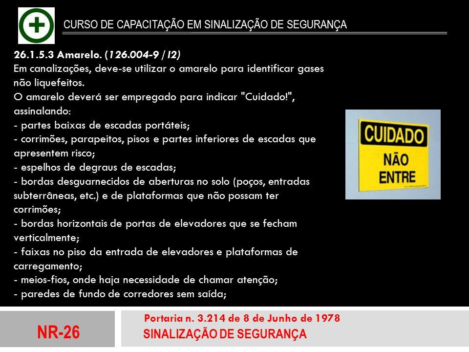 NR-26 SINALIZAÇÃO DE SEGURANÇA Portaria n. 3.214 de 8 de Junho de 1978 CURSO DE CAPACITAÇÃO EM SINALIZAÇÃO DE SEGURANÇA 26.1.5.3 Amarelo. (126.004-9 /