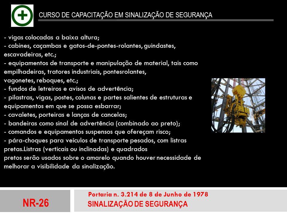 NR-26 SINALIZAÇÃO DE SEGURANÇA Portaria n. 3.214 de 8 de Junho de 1978 CURSO DE CAPACITAÇÃO EM SINALIZAÇÃO DE SEGURANÇA - vigas colocadas a baixa altu