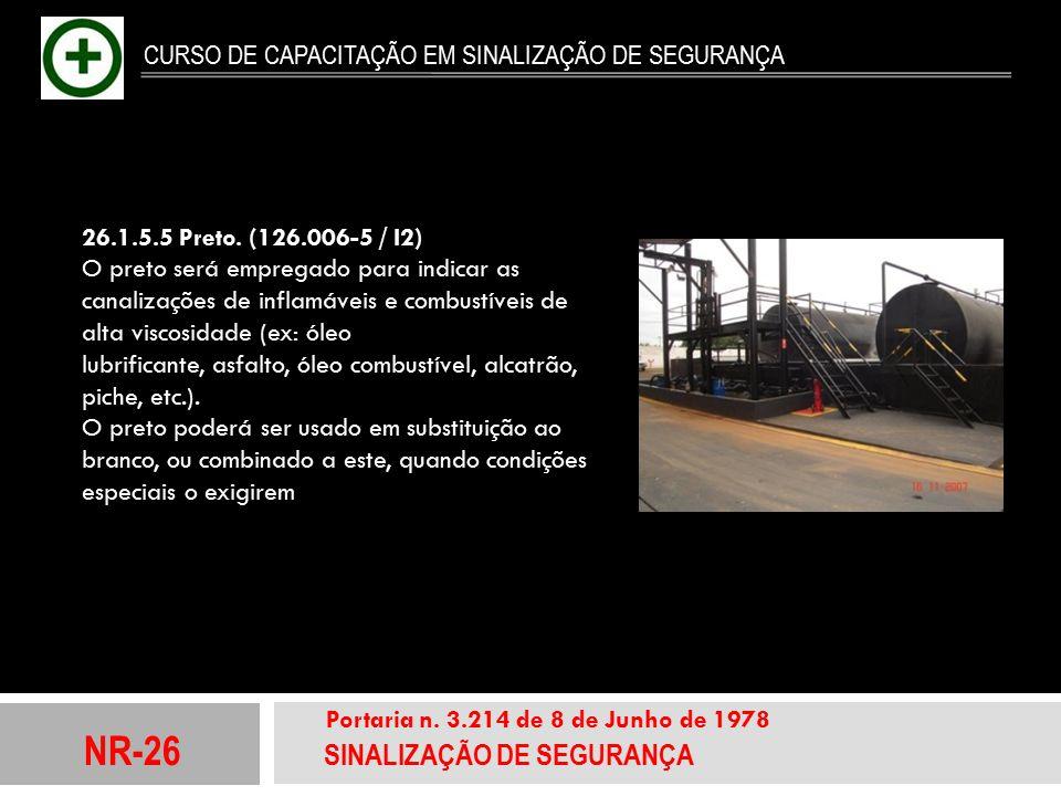 NR-26 SINALIZAÇÃO DE SEGURANÇA Portaria n. 3.214 de 8 de Junho de 1978 CURSO DE CAPACITAÇÃO EM SINALIZAÇÃO DE SEGURANÇA 26.1.5.5 Preto. (126.006-5 / I