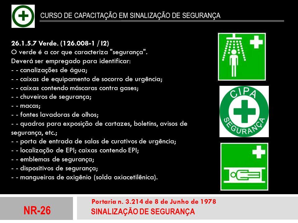 NR-26 SINALIZAÇÃO DE SEGURANÇA Portaria n. 3.214 de 8 de Junho de 1978 CURSO DE CAPACITAÇÃO EM SINALIZAÇÃO DE SEGURANÇA 26.1.5.7 Verde. (126.008-1 / I