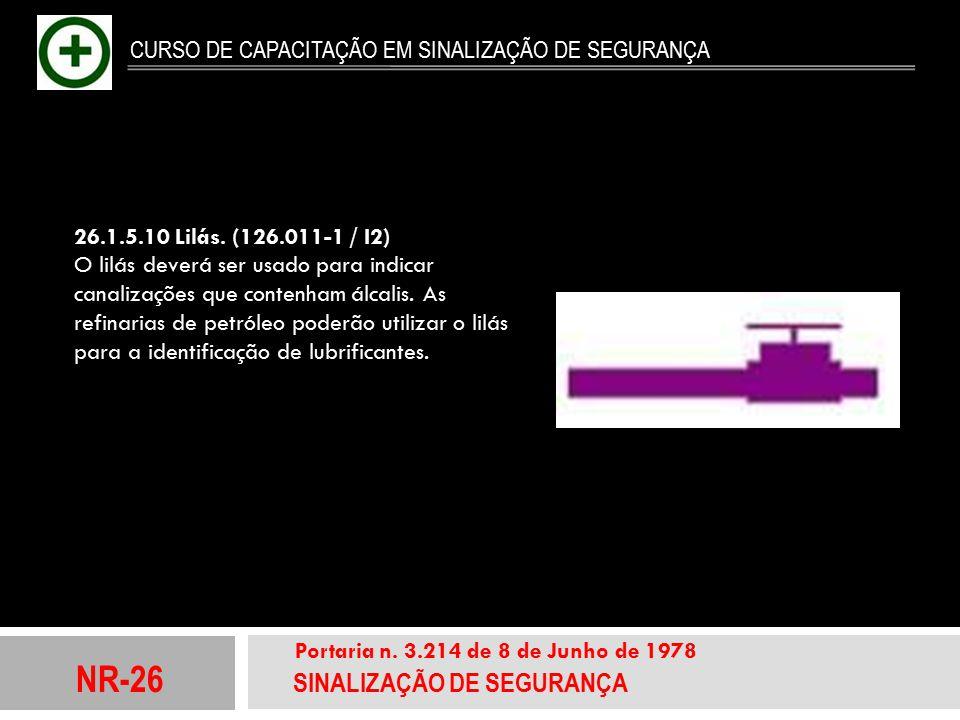 NR-26 SINALIZAÇÃO DE SEGURANÇA Portaria n. 3.214 de 8 de Junho de 1978 CURSO DE CAPACITAÇÃO EM SINALIZAÇÃO DE SEGURANÇA 26.1.5.10 Lilás. (126.011-1 /
