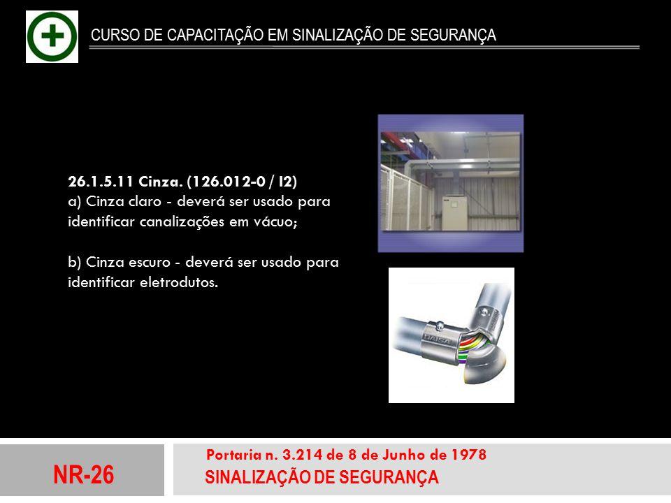 NR-26 SINALIZAÇÃO DE SEGURANÇA Portaria n. 3.214 de 8 de Junho de 1978 CURSO DE CAPACITAÇÃO EM SINALIZAÇÃO DE SEGURANÇA 26.1.5.11 Cinza. (126.012-0 /