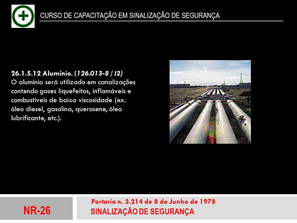 NR-26 SINALIZAÇÃO DE SEGURANÇA Portaria n. 3.214 de 8 de Junho de 1978 CURSO DE CAPACITAÇÃO EM SINALIZAÇÃO DE SEGURANÇA 26.1.5.12 Alumínio. (126.013-8