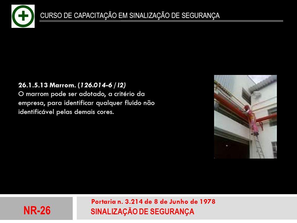 NR-26 SINALIZAÇÃO DE SEGURANÇA Portaria n. 3.214 de 8 de Junho de 1978 CURSO DE CAPACITAÇÃO EM SINALIZAÇÃO DE SEGURANÇA 26.1.5.13 Marrom. (126.014-6 /