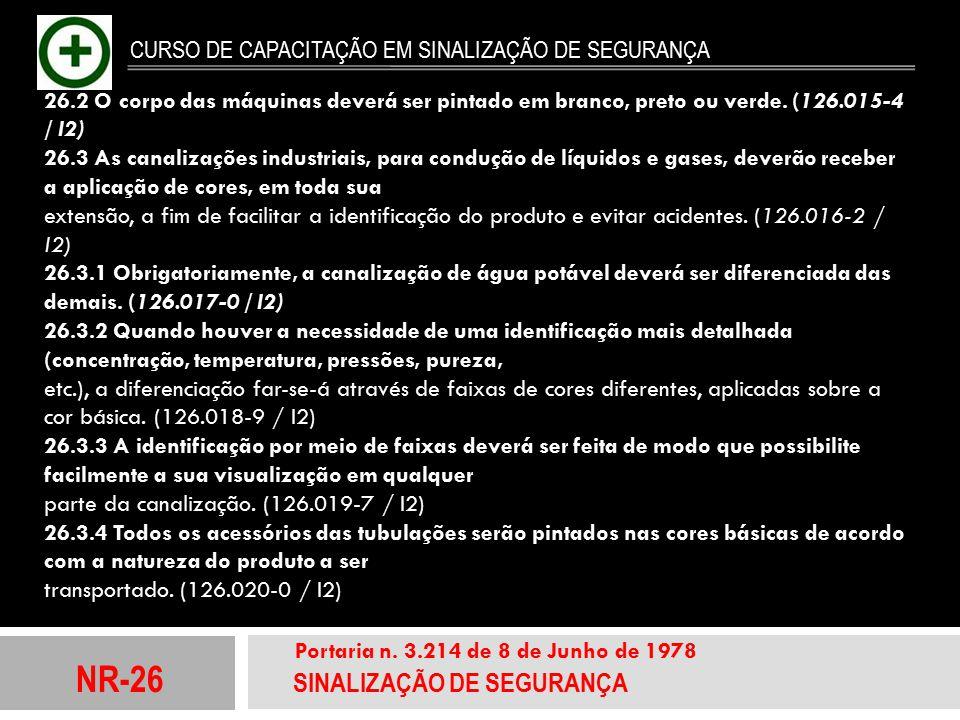 NR-26 SINALIZAÇÃO DE SEGURANÇA Portaria n. 3.214 de 8 de Junho de 1978 CURSO DE CAPACITAÇÃO EM SINALIZAÇÃO DE SEGURANÇA 26.2 O corpo das máquinas deve
