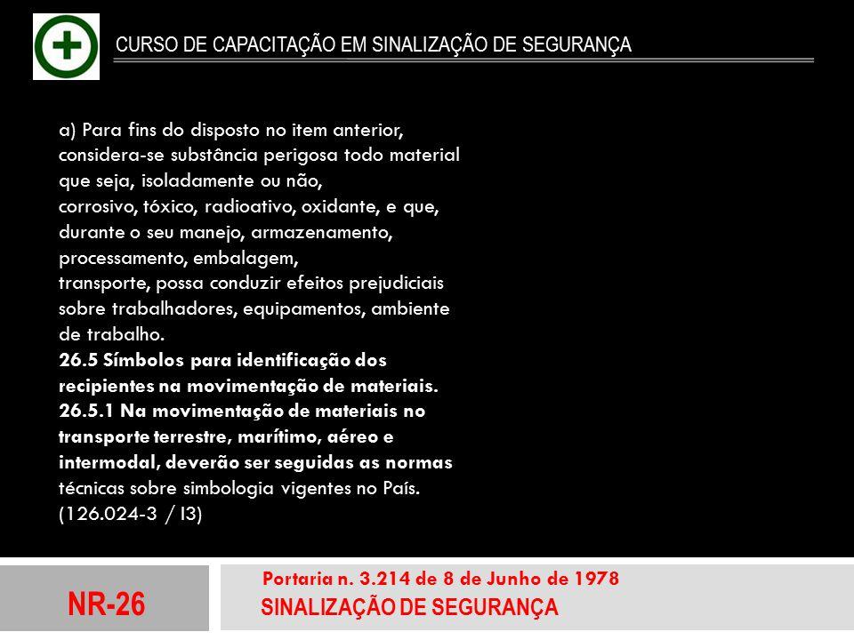 NR-26 SINALIZAÇÃO DE SEGURANÇA Portaria n. 3.214 de 8 de Junho de 1978 CURSO DE CAPACITAÇÃO EM SINALIZAÇÃO DE SEGURANÇA a) Para fins do disposto no it