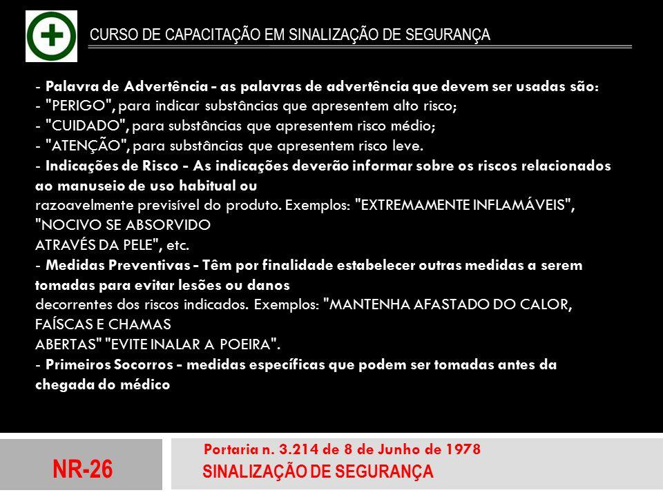 NR-26 SINALIZAÇÃO DE SEGURANÇA Portaria n. 3.214 de 8 de Junho de 1978 CURSO DE CAPACITAÇÃO EM SINALIZAÇÃO DE SEGURANÇA - Palavra de Advertência - as
