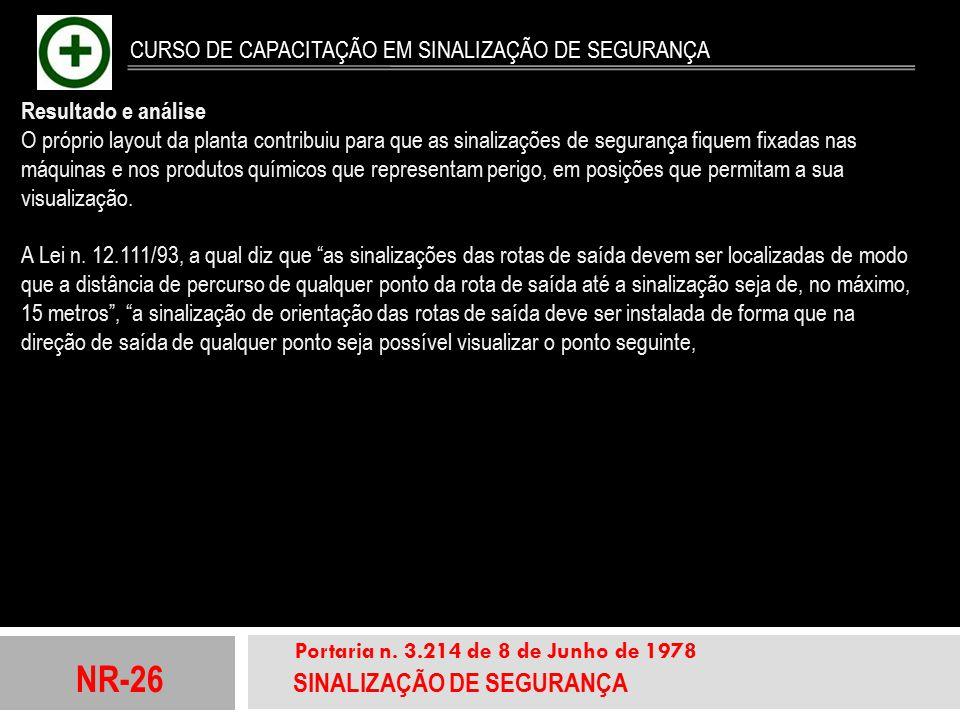 NR-26 SINALIZAÇÃO DE SEGURANÇA Portaria n. 3.214 de 8 de Junho de 1978 CURSO DE CAPACITAÇÃO EM SINALIZAÇÃO DE SEGURANÇA Resultado e análise O próprio