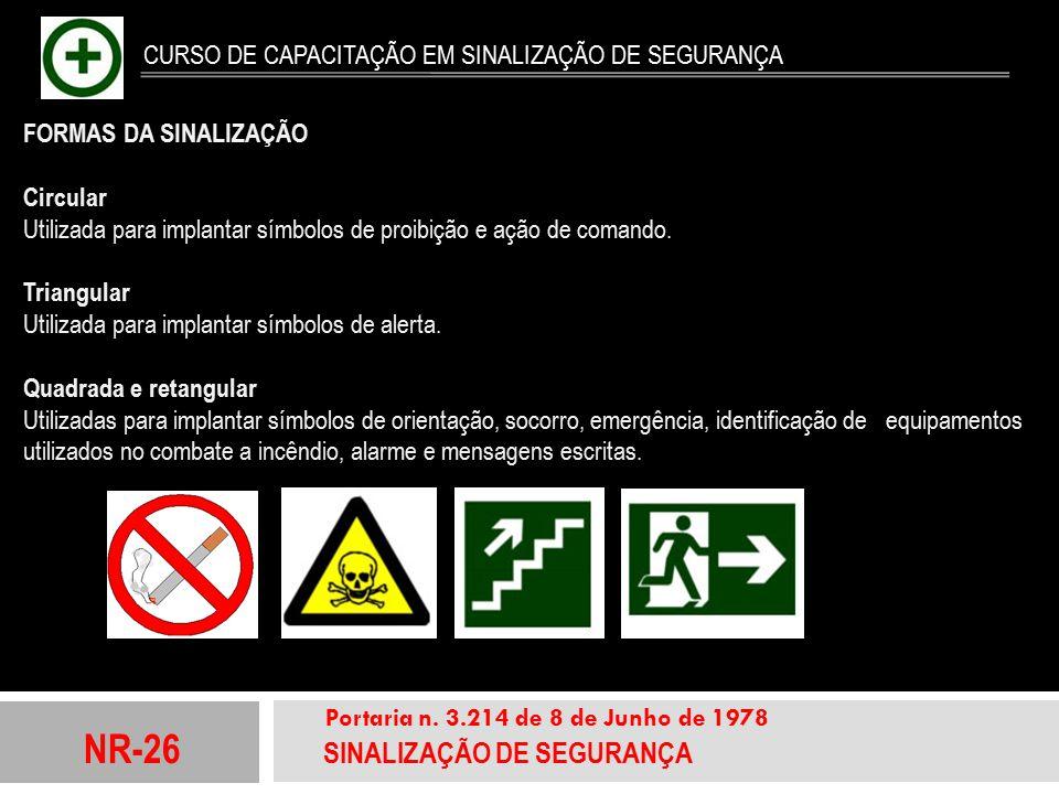 NR-26 SINALIZAÇÃO DE SEGURANÇA Portaria n. 3.214 de 8 de Junho de 1978 CURSO DE CAPACITAÇÃO EM SINALIZAÇÃO DE SEGURANÇA FORMAS DA SINALIZAÇÃO Circular
