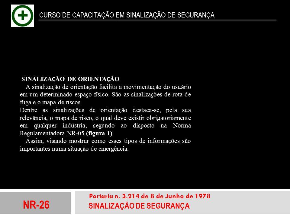 NR-26 SINALIZAÇÃO DE SEGURANÇA Portaria n. 3.214 de 8 de Junho de 1978 CURSO DE CAPACITAÇÃO EM SINALIZAÇÃO DE SEGURANÇA SINALIZA Ç ÃO DE ORIENTA Ç ÃO