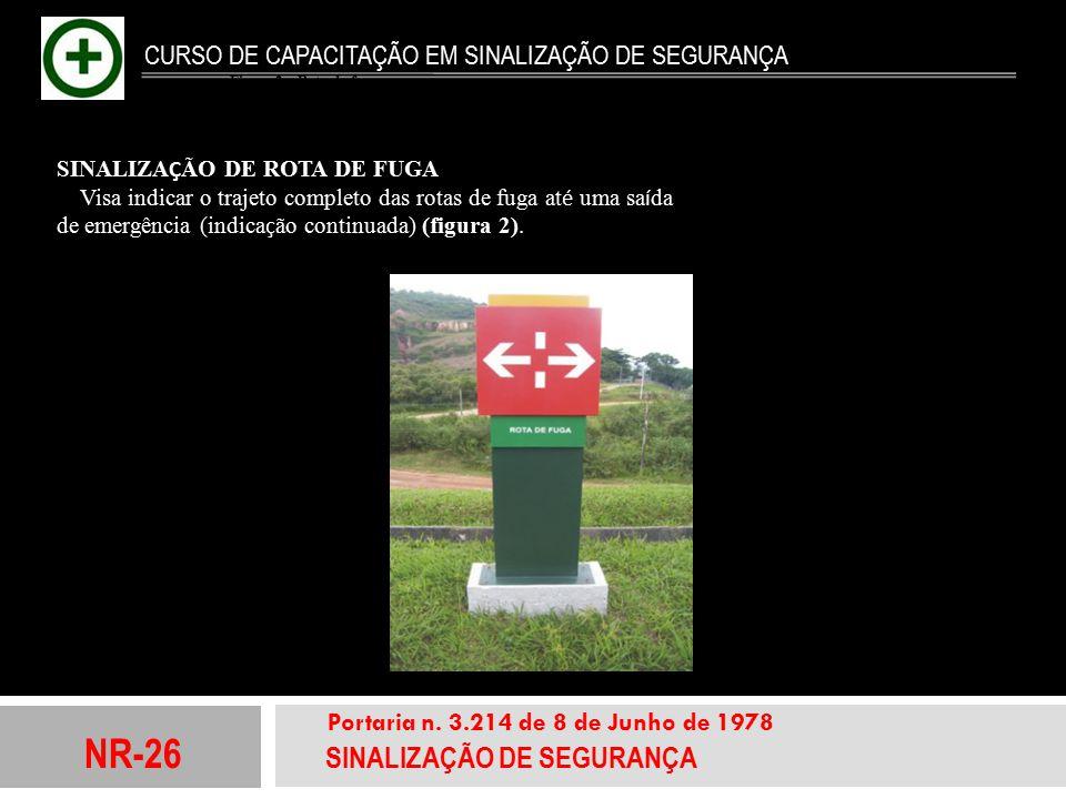 NR-26 SINALIZAÇÃO DE SEGURANÇA Portaria n. 3.214 de 8 de Junho de 1978 CURSO DE CAPACITAÇÃO EM SINALIZAÇÃO DE SEGURANÇA SINALIZA Ç ÃO DE ROTA DE FUGA