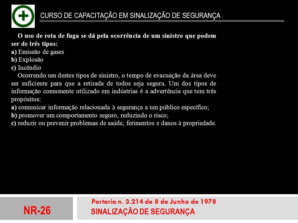 NR-26 SINALIZAÇÃO DE SEGURANÇA Portaria n. 3.214 de 8 de Junho de 1978 CURSO DE CAPACITAÇÃO EM SINALIZAÇÃO DE SEGURANÇA O uso de rota de fuga se d á p