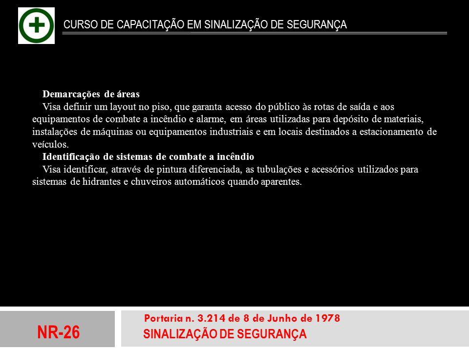 NR-26 SINALIZAÇÃO DE SEGURANÇA Portaria n. 3.214 de 8 de Junho de 1978 CURSO DE CAPACITAÇÃO EM SINALIZAÇÃO DE SEGURANÇA Demarca ç ões de á reas Visa d