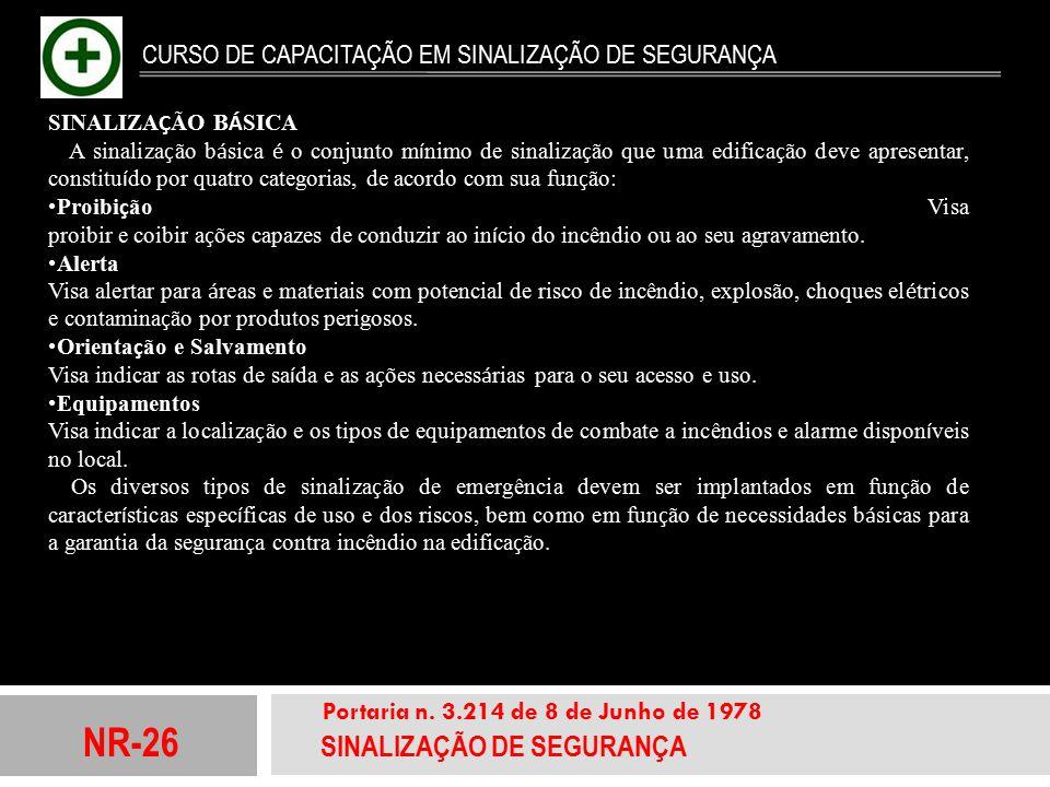 NR-26 SINALIZAÇÃO DE SEGURANÇA Portaria n. 3.214 de 8 de Junho de 1978 CURSO DE CAPACITAÇÃO EM SINALIZAÇÃO DE SEGURANÇA SINALIZA Ç ÃO B Á SICA A sinal