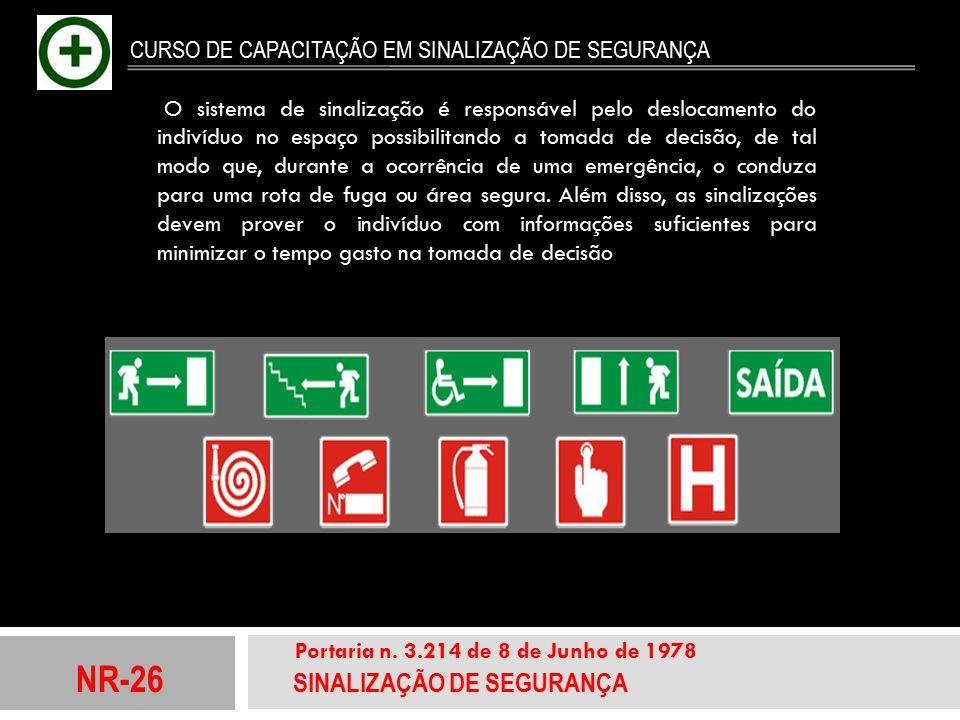 NR-26 SINALIZAÇÃO DE SEGURANÇA Portaria n. 3.214 de 8 de Junho de 1978 CURSO DE CAPACITAÇÃO EM SINALIZAÇÃO DE SEGURANÇA O sistema de sinalização é res