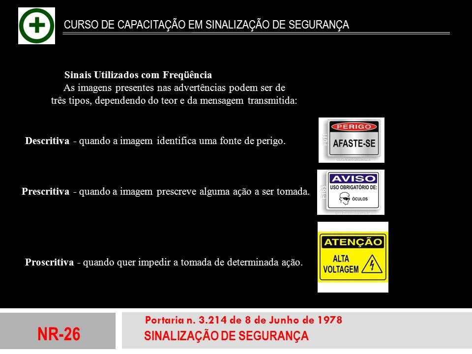NR-26 SINALIZAÇÃO DE SEGURANÇA Portaria n. 3.214 de 8 de Junho de 1978 CURSO DE CAPACITAÇÃO EM SINALIZAÇÃO DE SEGURANÇA Sinais Utilizados com Freq ü ê