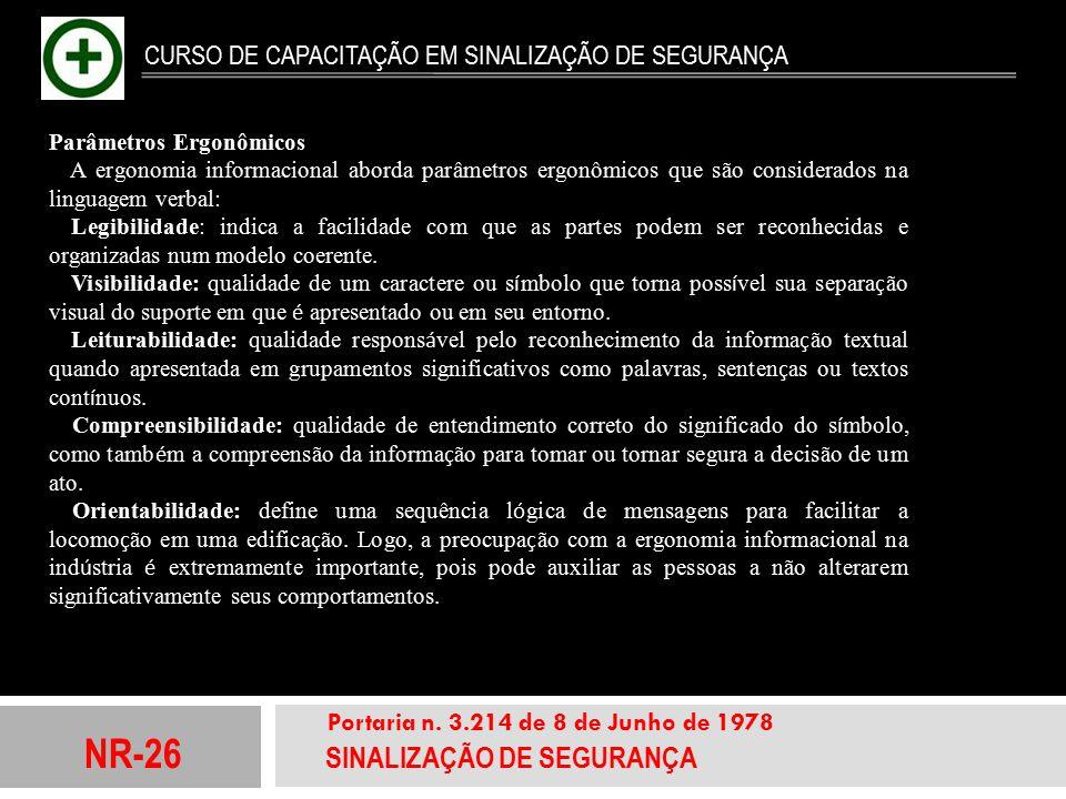 NR-26 SINALIZAÇÃO DE SEGURANÇA Portaria n. 3.214 de 8 de Junho de 1978 CURSO DE CAPACITAÇÃO EM SINALIZAÇÃO DE SEGURANÇA Parâmetros Ergonômicos A ergon
