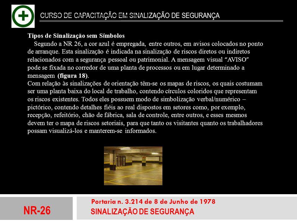 NR-26 SINALIZAÇÃO DE SEGURANÇA Portaria n. 3.214 de 8 de Junho de 1978 CURSO DE CAPACITAÇÃO EM SINALIZAÇÃO DE SEGURANÇA Tipos de Sinaliza ç ão sem S í
