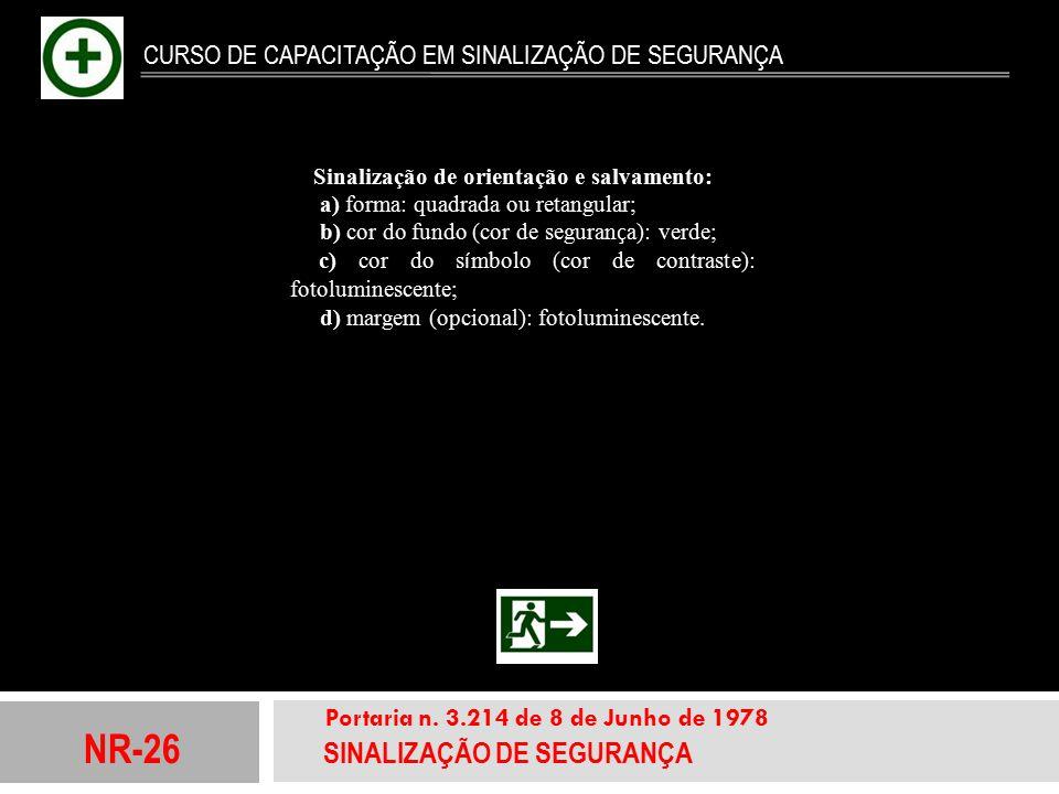 NR-26 SINALIZAÇÃO DE SEGURANÇA Portaria n. 3.214 de 8 de Junho de 1978 CURSO DE CAPACITAÇÃO EM SINALIZAÇÃO DE SEGURANÇA Sinalização de orientação e sa