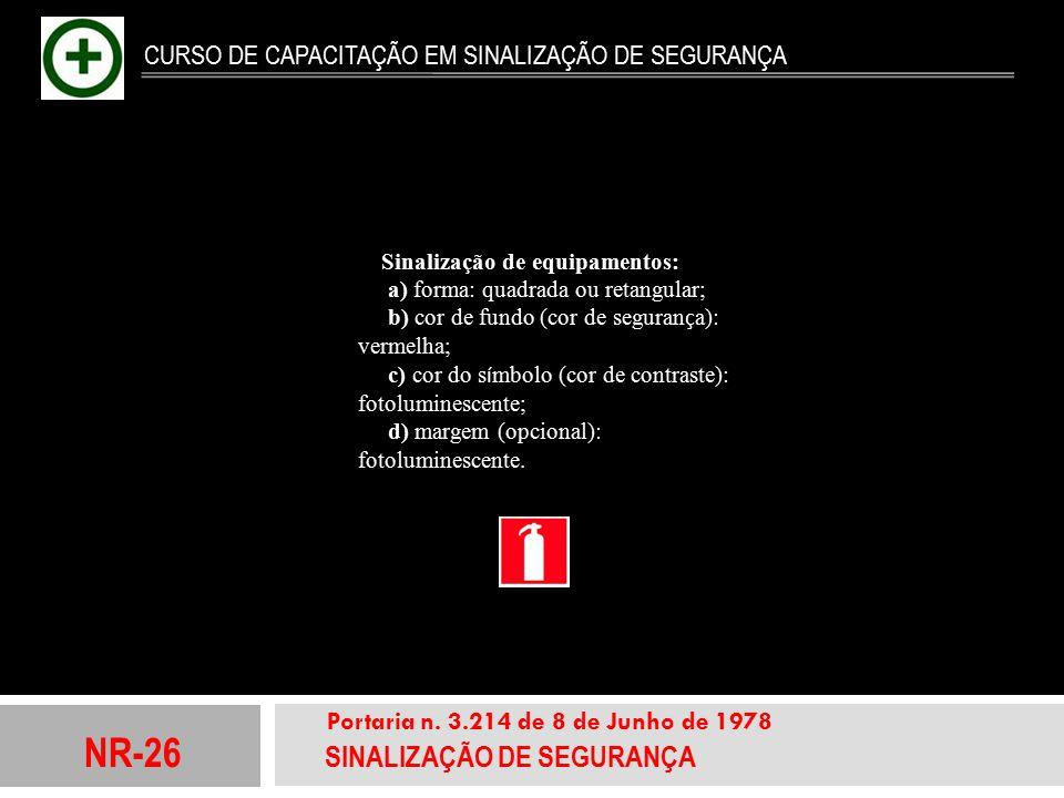 NR-26 SINALIZAÇÃO DE SEGURANÇA Portaria n. 3.214 de 8 de Junho de 1978 CURSO DE CAPACITAÇÃO EM SINALIZAÇÃO DE SEGURANÇA Sinalização de equipamentos: a