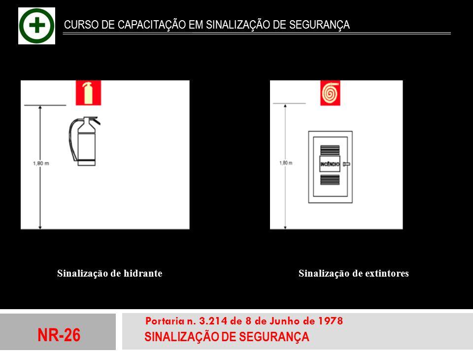 NR-26 SINALIZAÇÃO DE SEGURANÇA Portaria n. 3.214 de 8 de Junho de 1978 CURSO DE CAPACITAÇÃO EM SINALIZAÇÃO DE SEGURANÇA Sinaliza ç ão de hidrante Sina