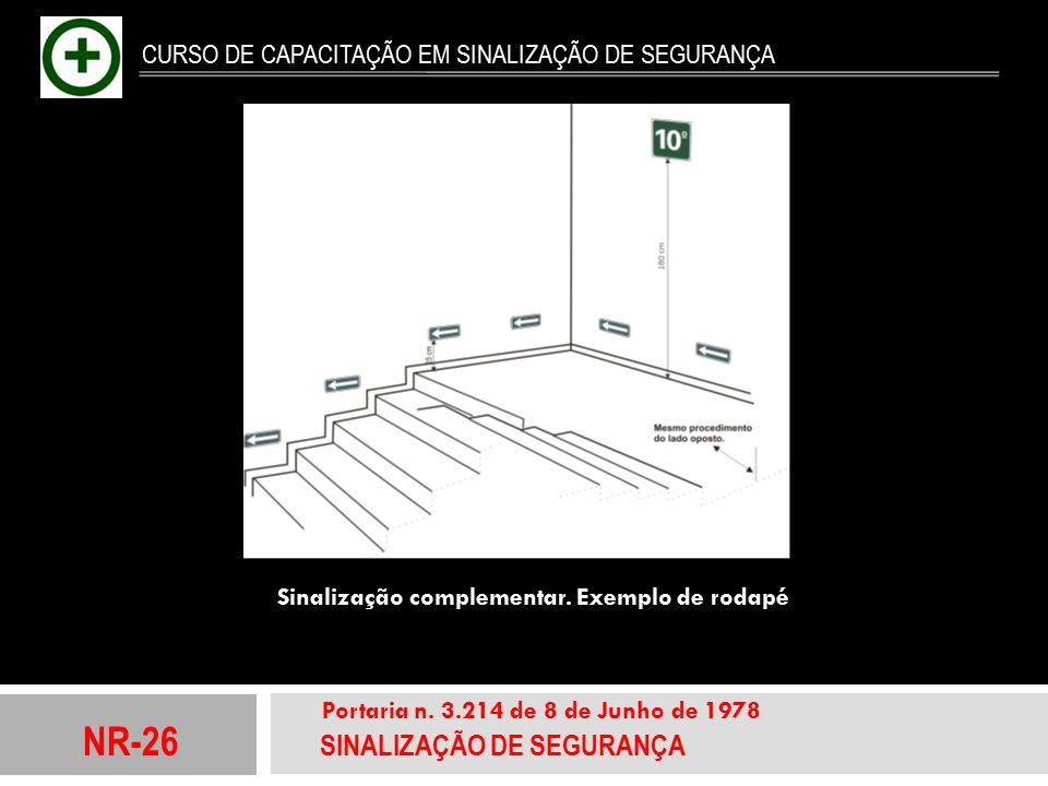 NR-26 SINALIZAÇÃO DE SEGURANÇA Portaria n. 3.214 de 8 de Junho de 1978 CURSO DE CAPACITAÇÃO EM SINALIZAÇÃO DE SEGURANÇA Sinaliza ç ão complementar. Ex