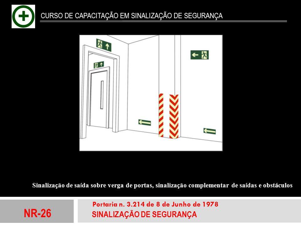 NR-26 SINALIZAÇÃO DE SEGURANÇA Portaria n. 3.214 de 8 de Junho de 1978 CURSO DE CAPACITAÇÃO EM SINALIZAÇÃO DE SEGURANÇA Sinaliza ç ão de sa í da sobre