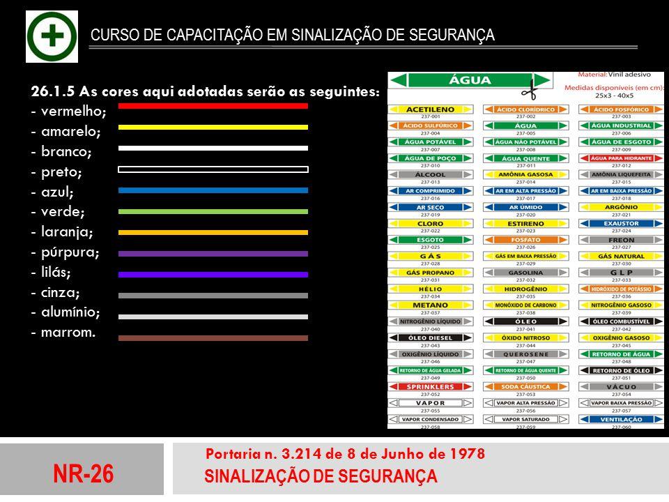 NR-26 SINALIZAÇÃO DE SEGURANÇA Portaria n. 3.214 de 8 de Junho de 1978 CURSO DE CAPACITAÇÃO EM SINALIZAÇÃO DE SEGURANÇA 26.1.5 As cores aqui adotadas