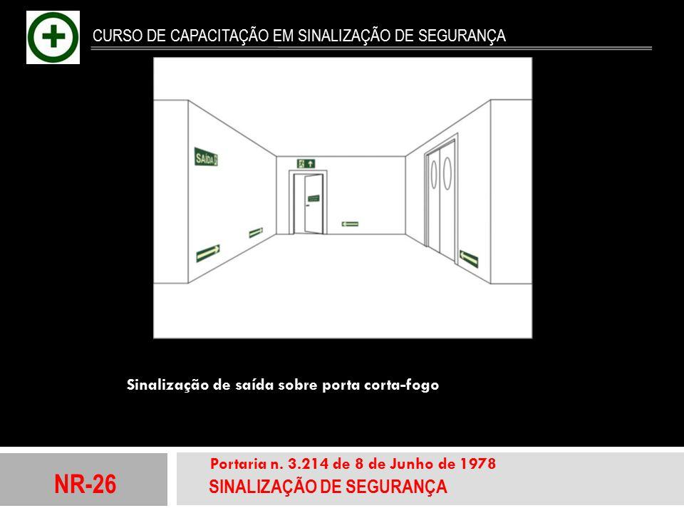 NR-26 SINALIZAÇÃO DE SEGURANÇA Portaria n. 3.214 de 8 de Junho de 1978 CURSO DE CAPACITAÇÃO EM SINALIZAÇÃO DE SEGURANÇA Sinalização de saída sobre por