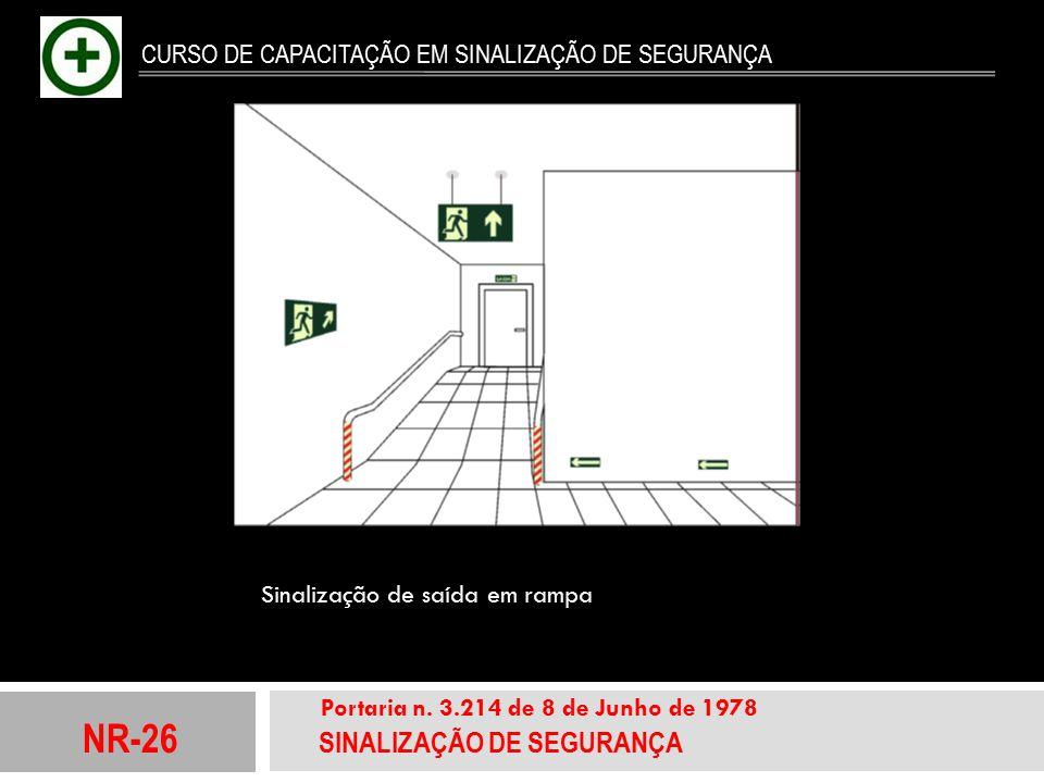 NR-26 SINALIZAÇÃO DE SEGURANÇA Portaria n. 3.214 de 8 de Junho de 1978 CURSO DE CAPACITAÇÃO EM SINALIZAÇÃO DE SEGURANÇA Sinaliza ç ão de sa í da em ra