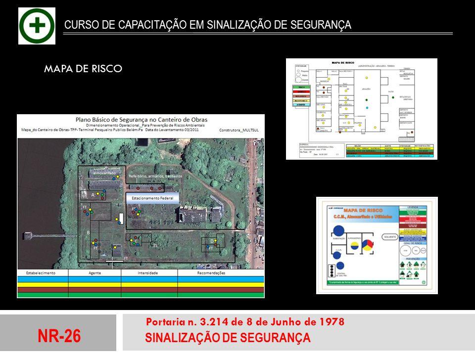 NR-26 SINALIZAÇÃO DE SEGURANÇA Portaria n. 3.214 de 8 de Junho de 1978 CURSO DE CAPACITAÇÃO EM SINALIZAÇÃO DE SEGURANÇA MAPA DE RISCO