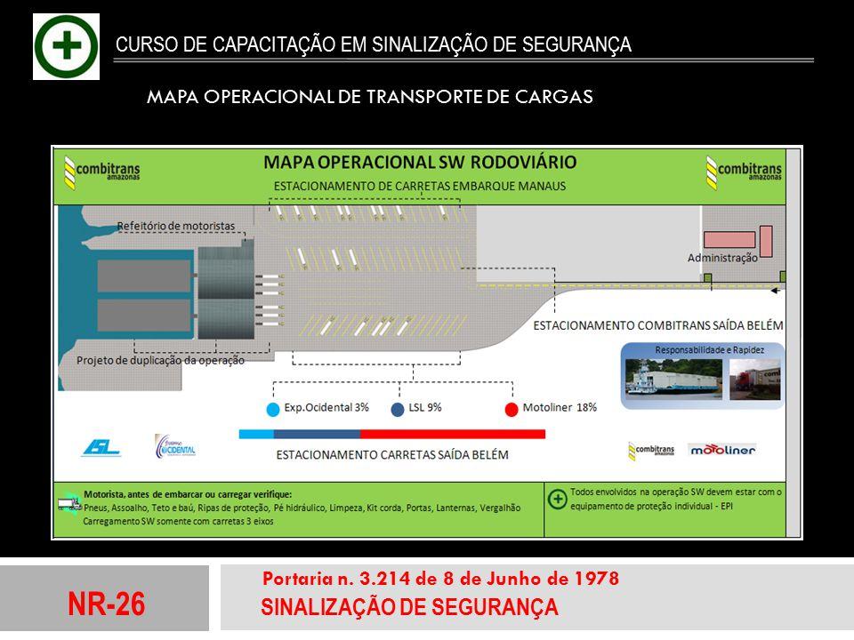 NR-26 SINALIZAÇÃO DE SEGURANÇA Portaria n. 3.214 de 8 de Junho de 1978 CURSO DE CAPACITAÇÃO EM SINALIZAÇÃO DE SEGURANÇA MAPA OPERACIONAL DE TRANSPORTE