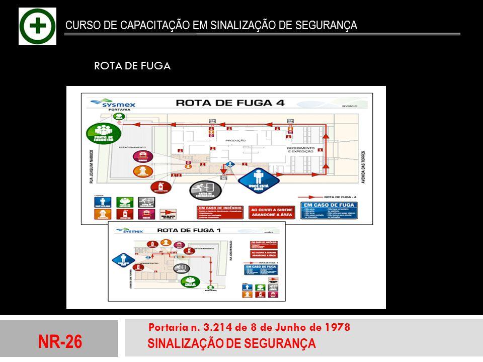 NR-26 SINALIZAÇÃO DE SEGURANÇA Portaria n. 3.214 de 8 de Junho de 1978 CURSO DE CAPACITAÇÃO EM SINALIZAÇÃO DE SEGURANÇA ROTA DE FUGA